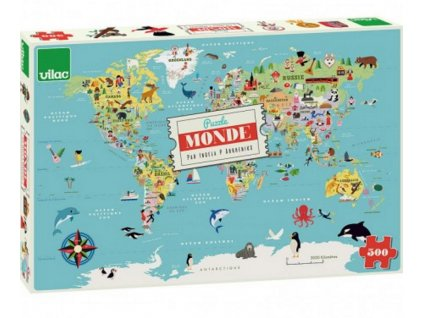 V7619 vilac mapa sveta puzzle 500 v krabici