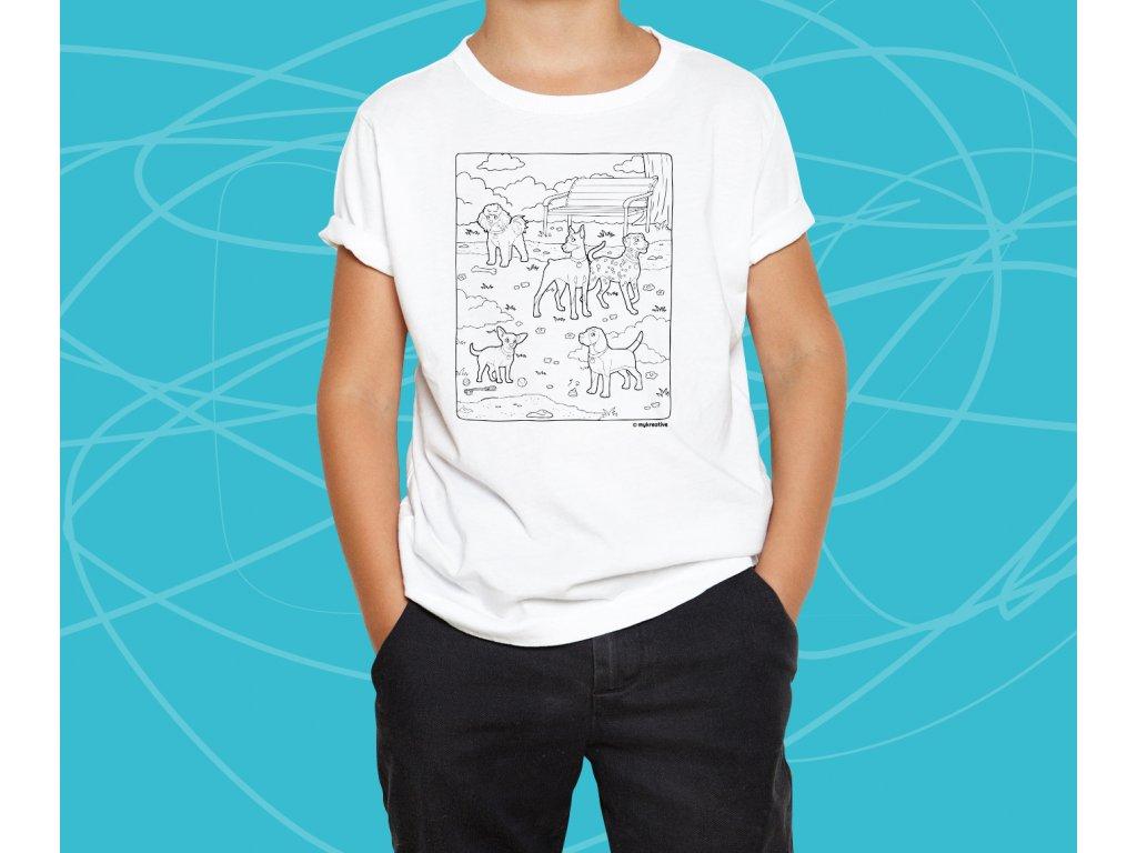 Dětské tričko s potiskem, tvořivá sada s fixami 10 ks, motiv motiv pejsci v parku 2, TRS39