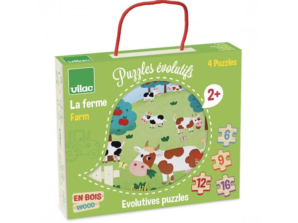 vilac drevene puzzle farma