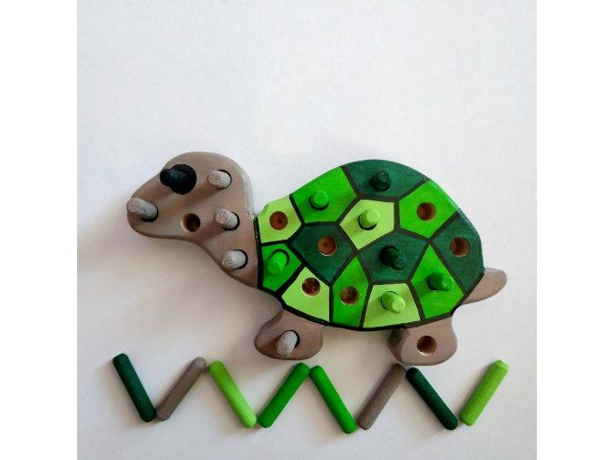 Kolíková vkládačka - želva zelená