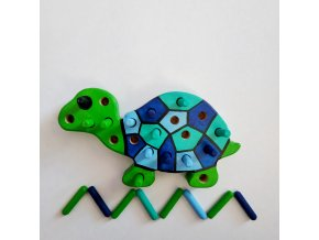 Kolíková vkládačka - želva modrá