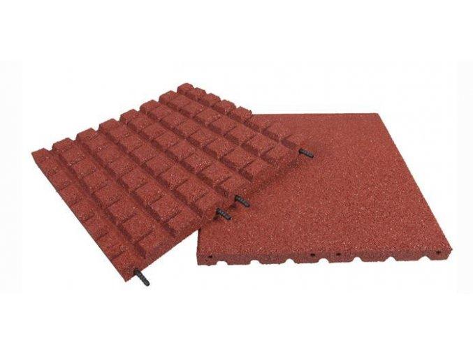 Pryžová deska 1x1m červená - výška pádu 1,7 m .