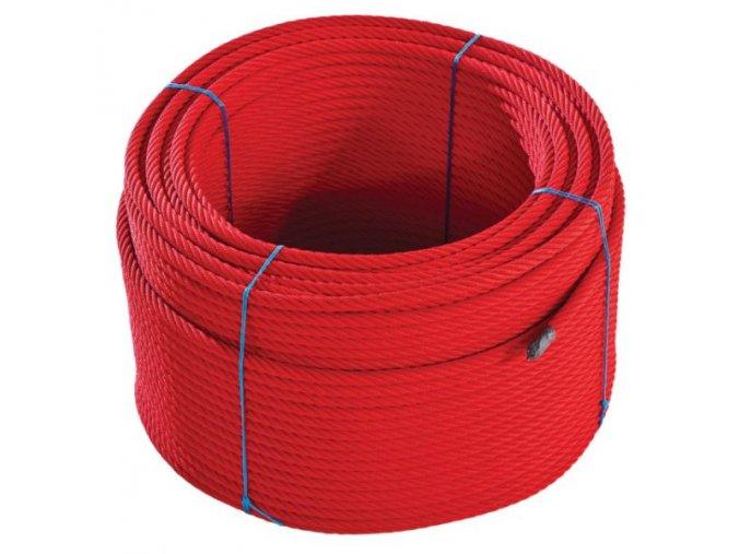 Lano s ocelovou výztuží - červené  .