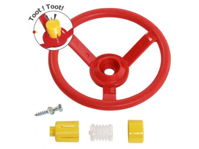 Volant červený s žlutým klaksonem .