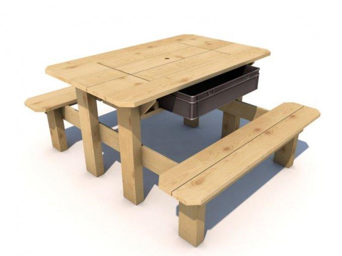 Piknikový stolek Herold IMPREGNOVANÝ s plastovým boxem .