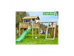 13835 jungle playhouse s terasou xl se skluzavkou a modulem climb xtra