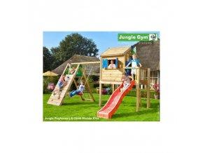13822 jungle playhouse s terasou l se skluzavkou a modulem climb xtra