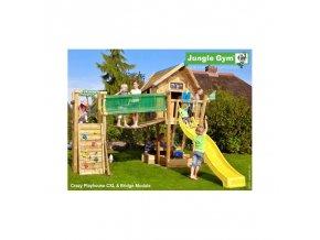 13589 jungle crazy playhouse se skluzavkou s terasou a modulem bridge