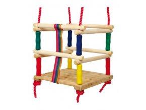 Dřevěná dětská houpačka barevná .