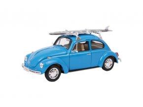 Model auta VW Beetle + surfovací prkno .
