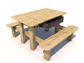 Piknikový stolek s plastovým boxem .