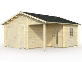 Garáž Roger 21,9 + 5,2 m2 - s dřevěnými dveřmi .