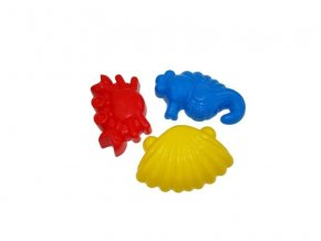 Formičky na písek: krab, mořský koník, škeble 3ks/bal. .