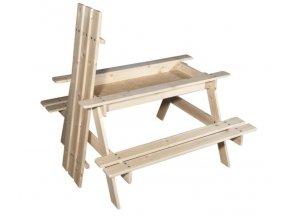 Dětský dřevěný piknikový stolek s úložným prostorem 90x90x50cm