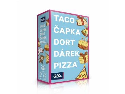 Taco, čapka, dort, dárek, pizza
