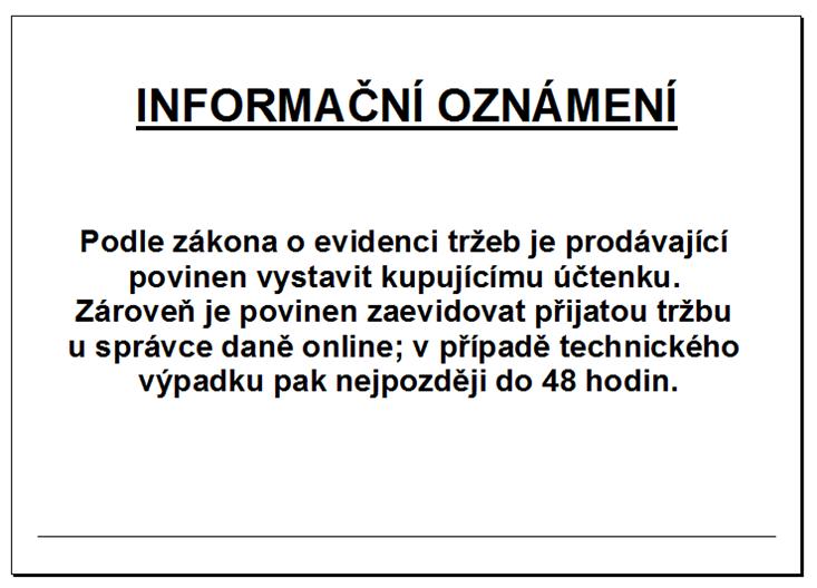 Informačních oznámení k EET