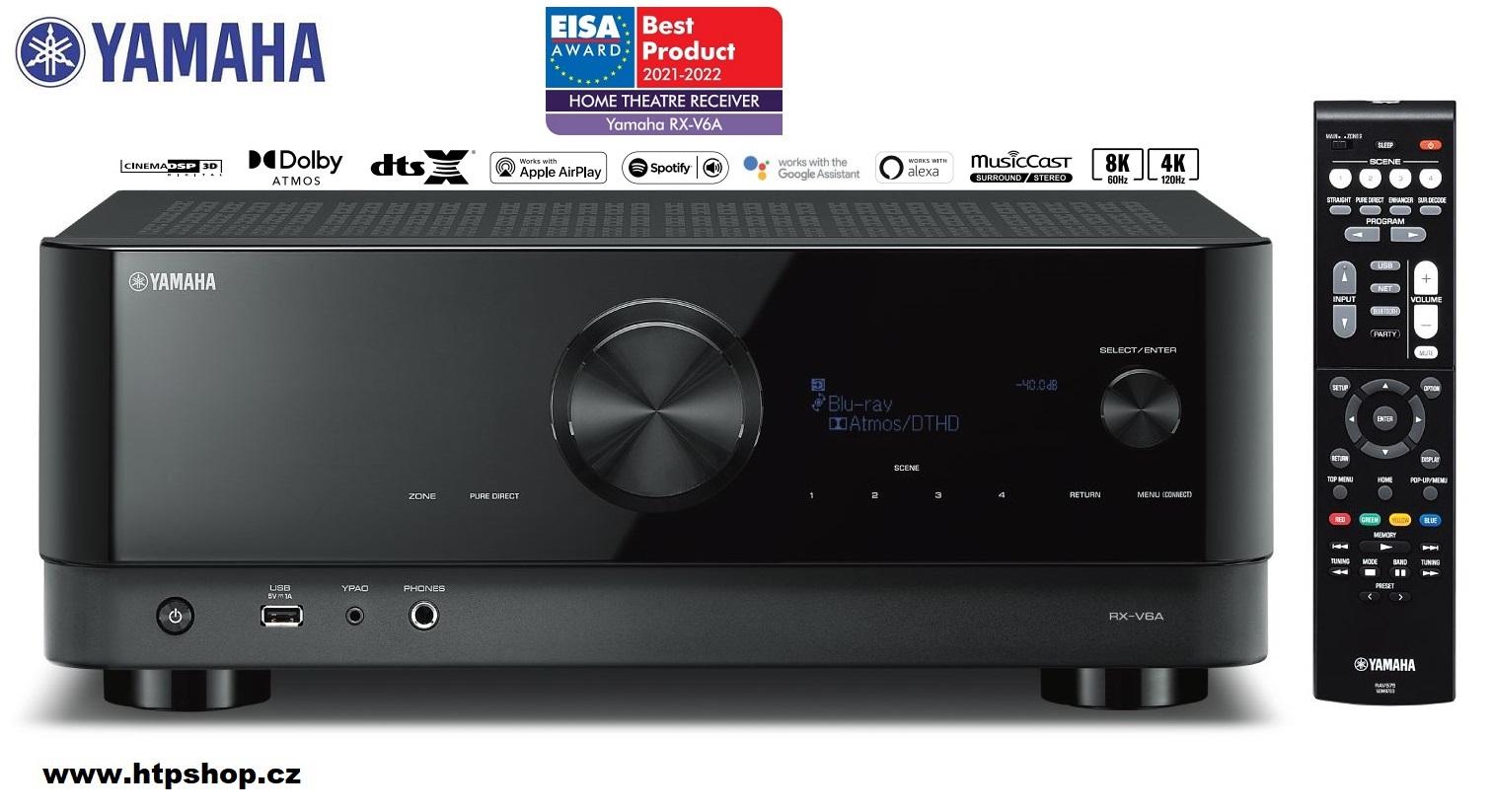 Yamaha RX-V6A - oceněno jako výrobek roku EISA AWARD 2021-2022 v kategorii Home Theatre Receiver