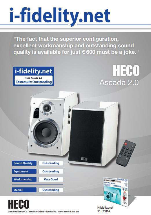 Heco Ascada 2.0 - aktivní 2-pásmové reprosoustavy s Bluetooth