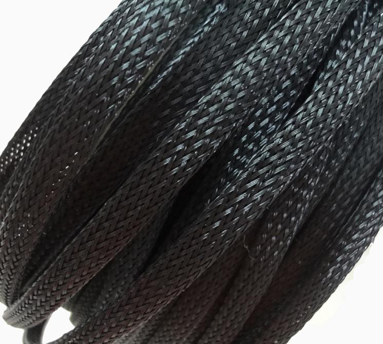 ELECAUDIO Black Expandable Braided Nylon Sleeve (PET) 7 - 15mm