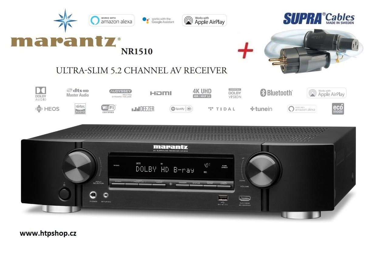 Marantz NR1510 + síťový kabel SUPRA LoRad 1.5 CS-EU Barevné provedení: černá - black