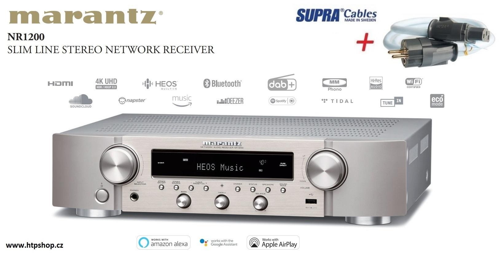Marantz NR1200 + síťový kabel SUPRA LoRad 2.5 CS-EU Barevné provedení: stříbrná - silver gold