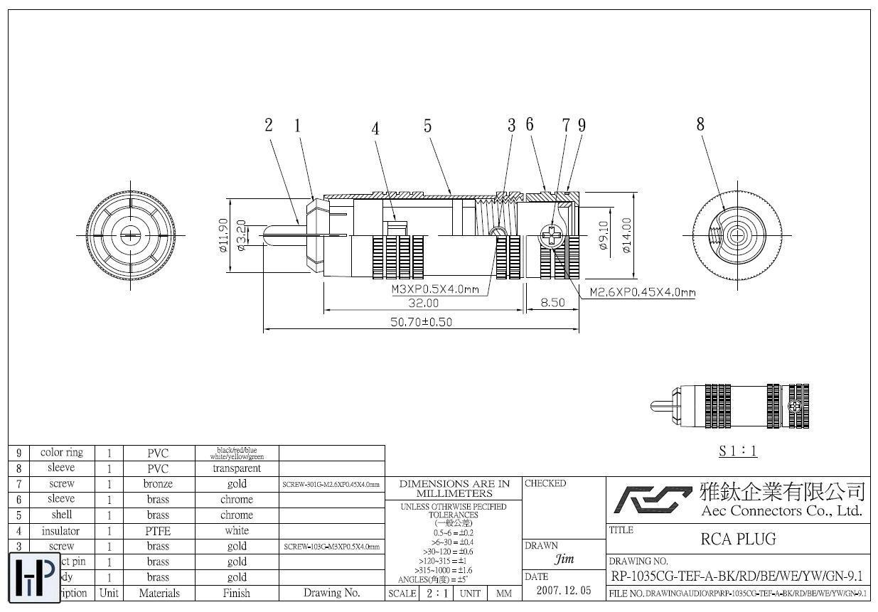 AEC connectors AEC RP-1035 Barevné provedení: černé