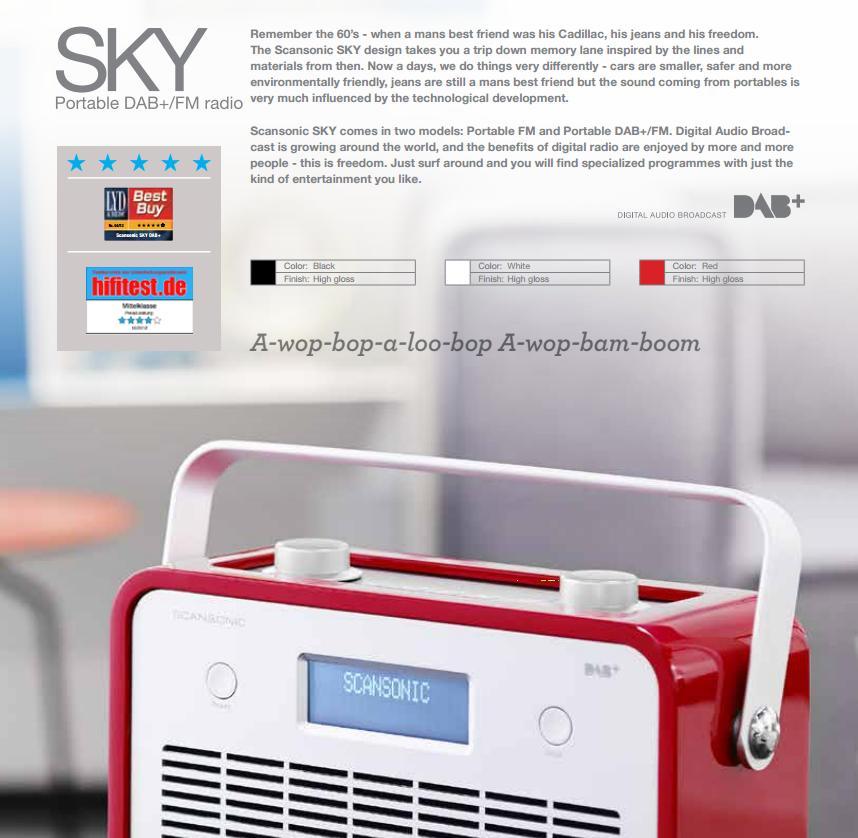 Scansonic SKY FM/DAB+ Barevné provedení: červený klavírní lak