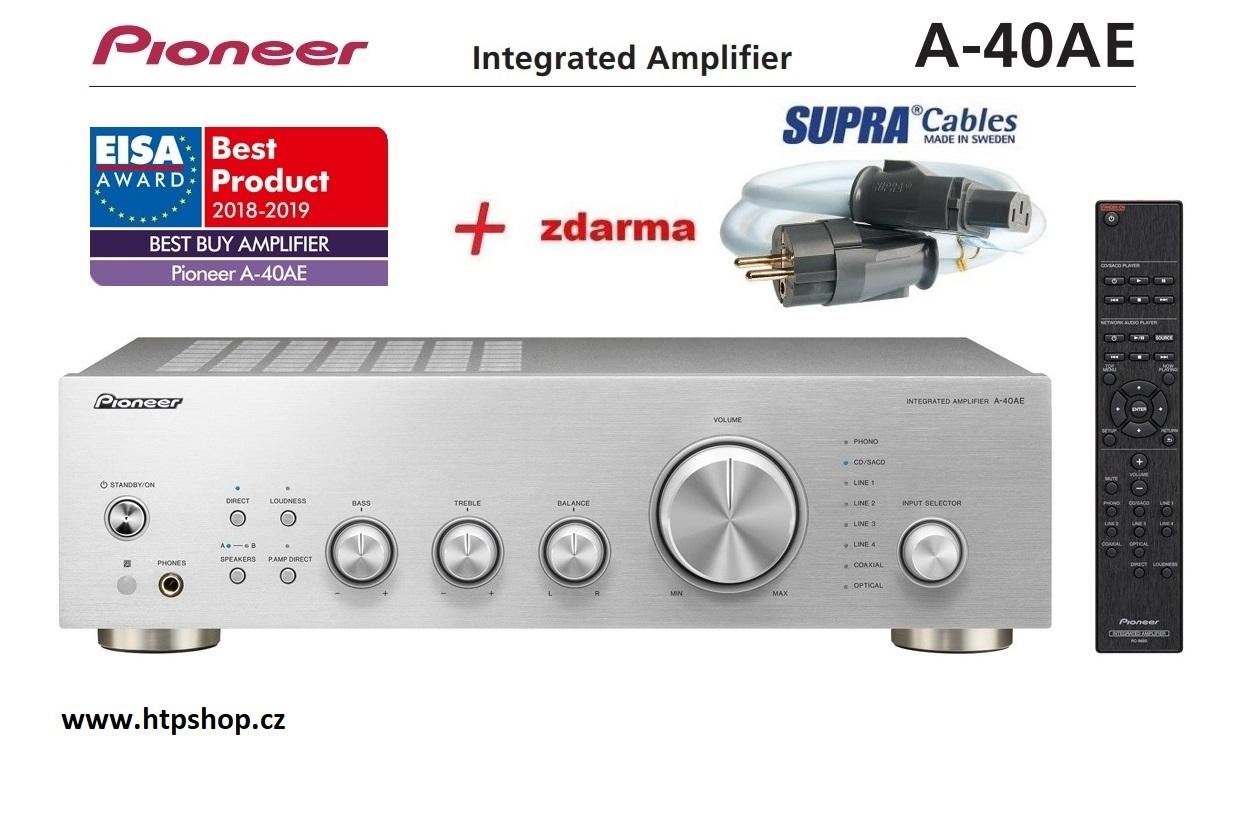 Pioneer A-40AE + síťový kabel SUPRA LoRad 1.5 CS-EU v délce 1,5m Barevné provedení: stříbrná - silver
