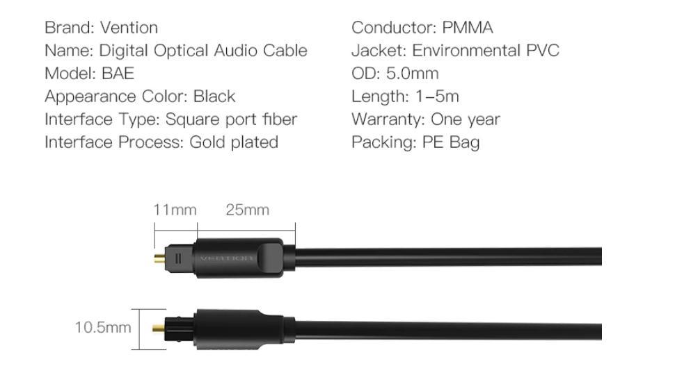 Vention BAE Délky kabelů: 2,0 m