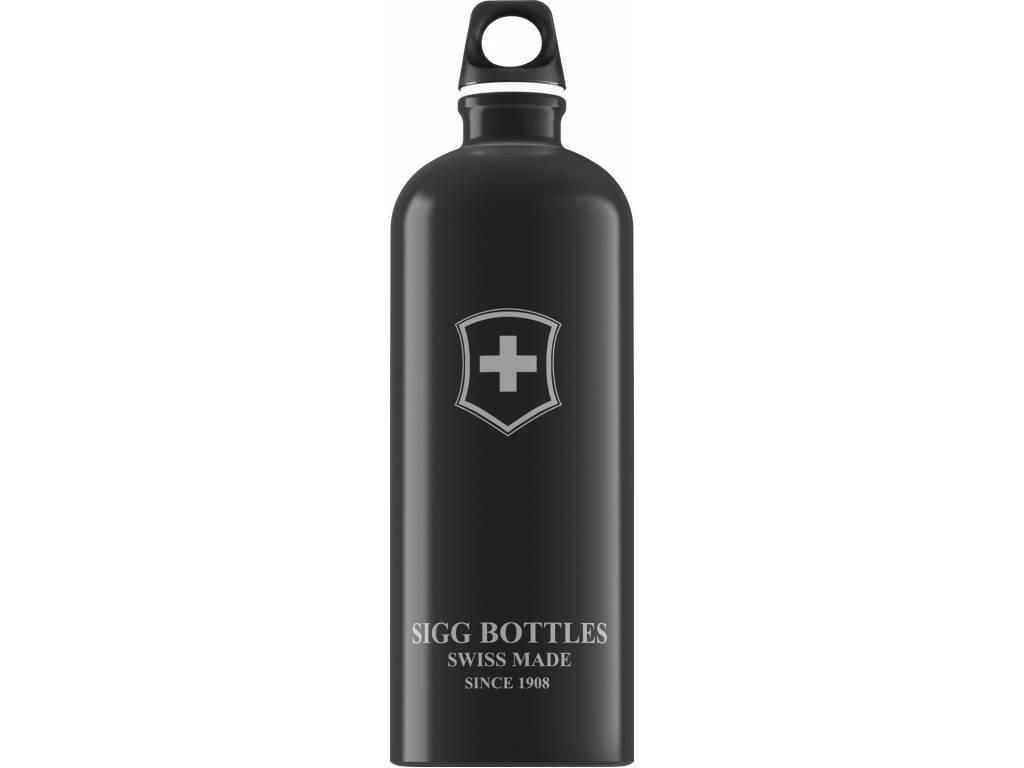SIGG Fľaša Swiss Emblem Black - kovové fľaše na vodu SIGG