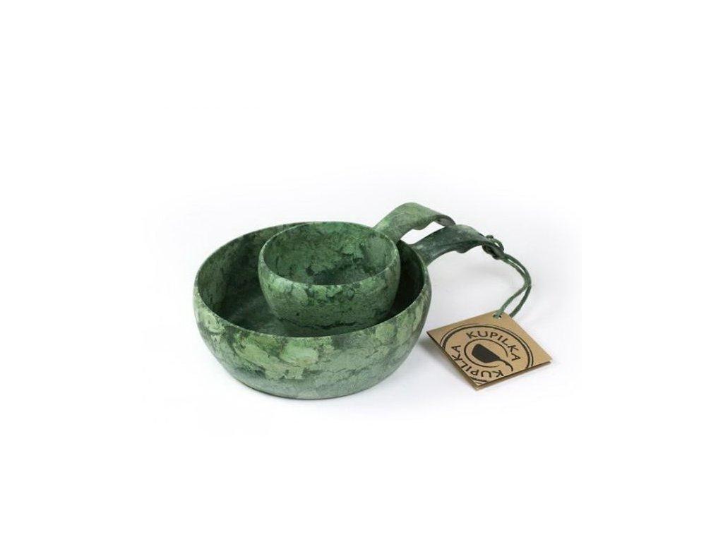 Kupilka 55+21 sada, zelená farba, darčekové balenie - miska a pohár do prírody