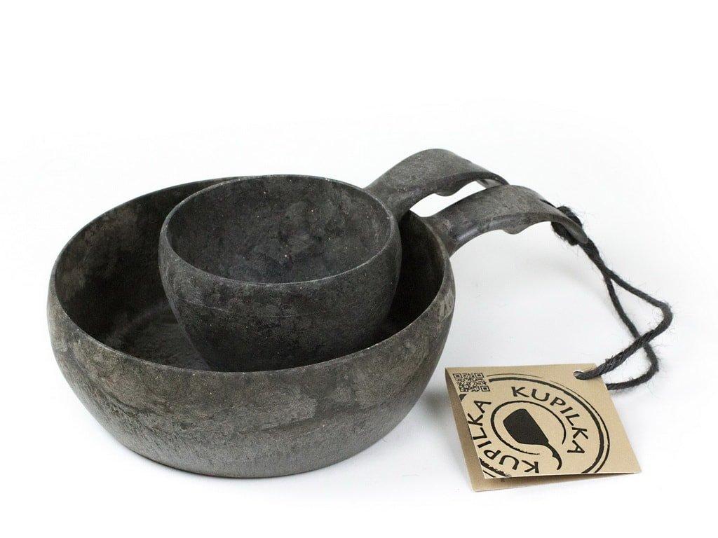 Kupilka 55+21 sada čierna darčekové balenie - miska a pohár na turistiku