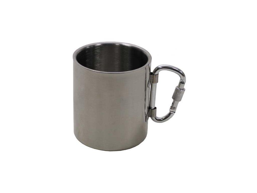 Hrnček nerezový MFH 33374 s karabínkou - 300 ml - kovový pohár