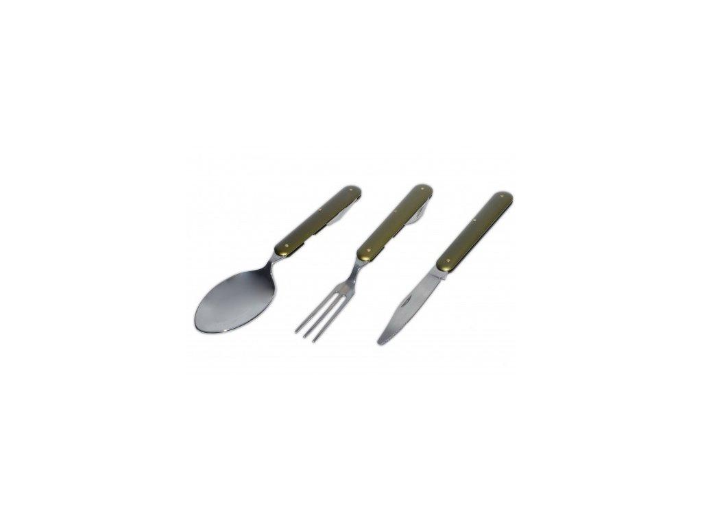 Príbor skladací RTX 3-dielny - olivový