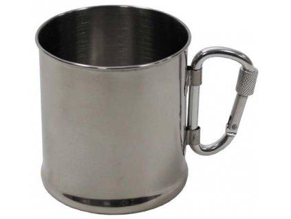 Hrnček nerezový MFH 33382 s karabínkou - 220 ml