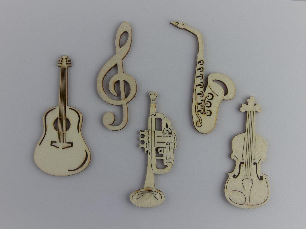 Dřevěné výřezy hudebních nástrojů