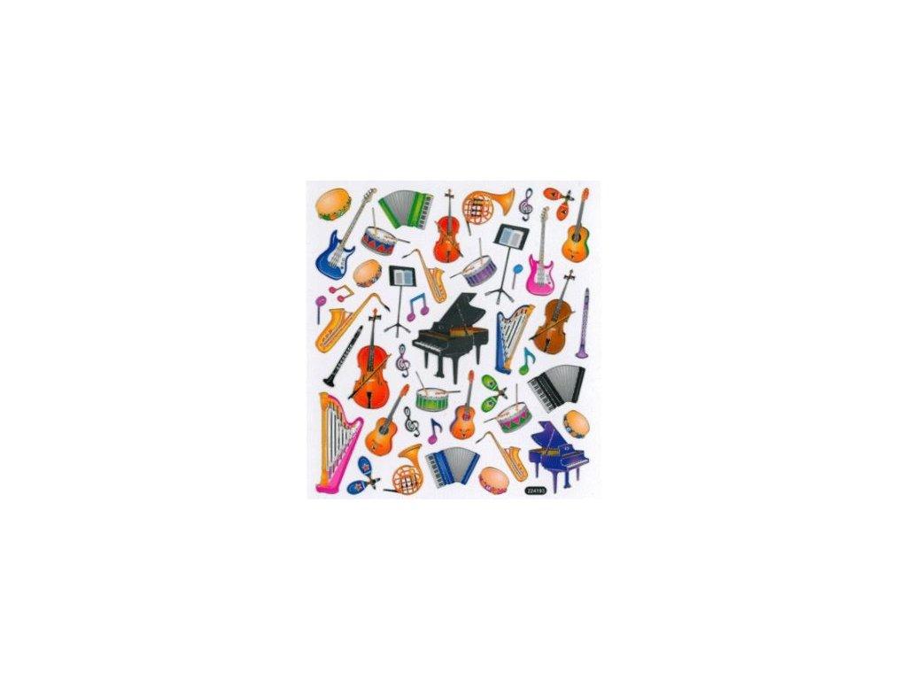 Samolepky a samolepící štítky s hudebním motivem