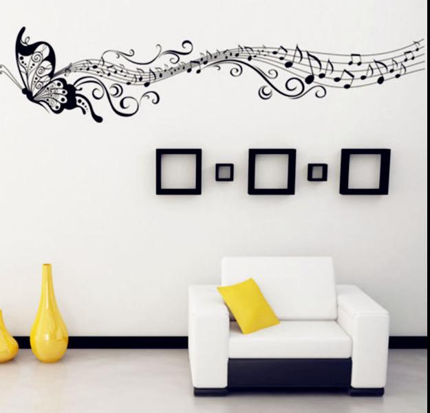 Hudební samolepky, tapety a závěsné dekorace na zeď