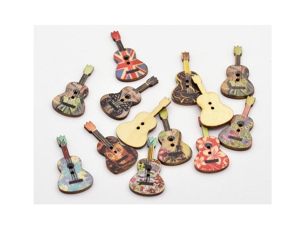 Knoflíky kytary - 6 ks