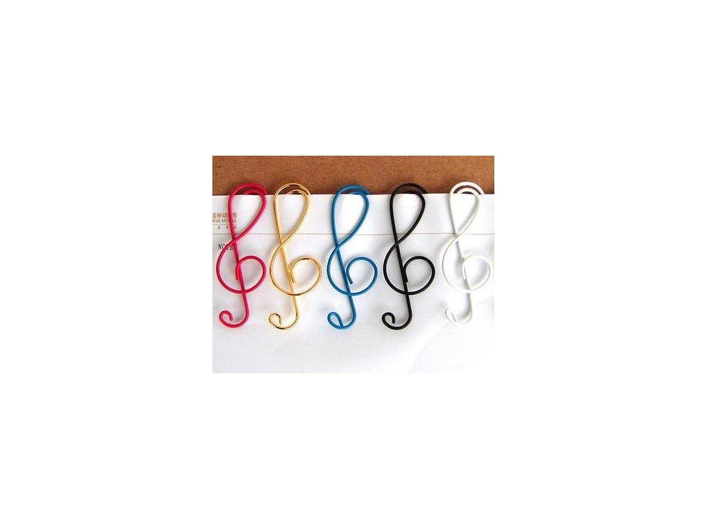 Kancelářské sponky ve tvaru houslového klíče