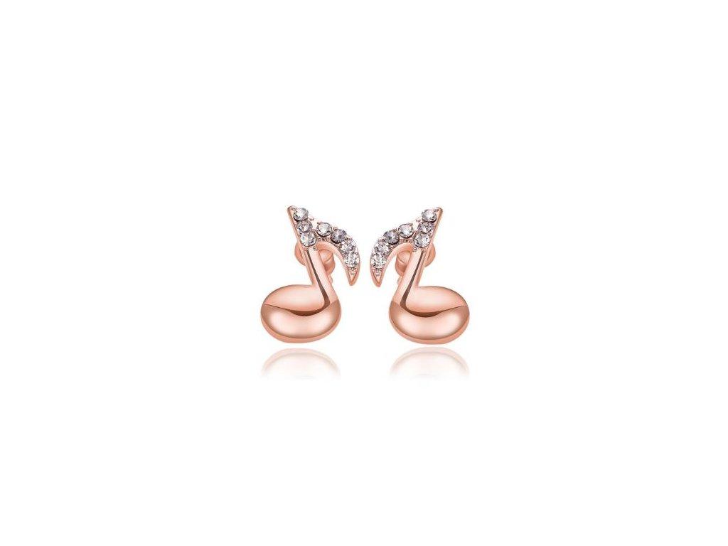 Náušnice osminové noty s kamínky - růžové zlato