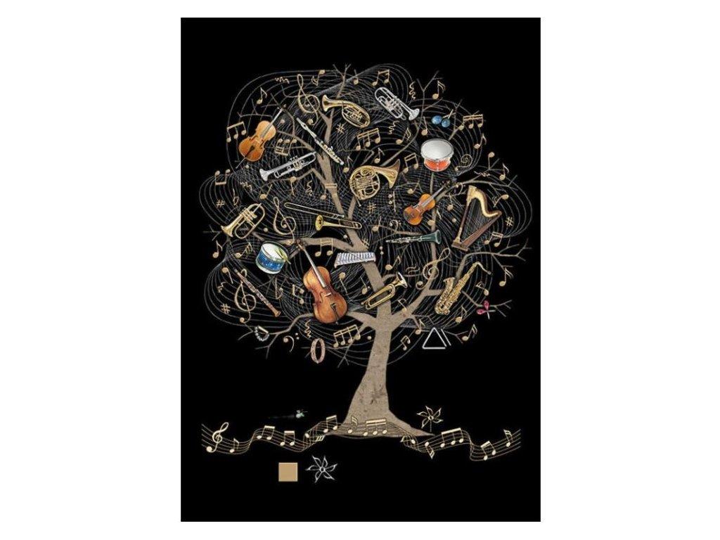 Přání do obálky strom s hudebními nástroji