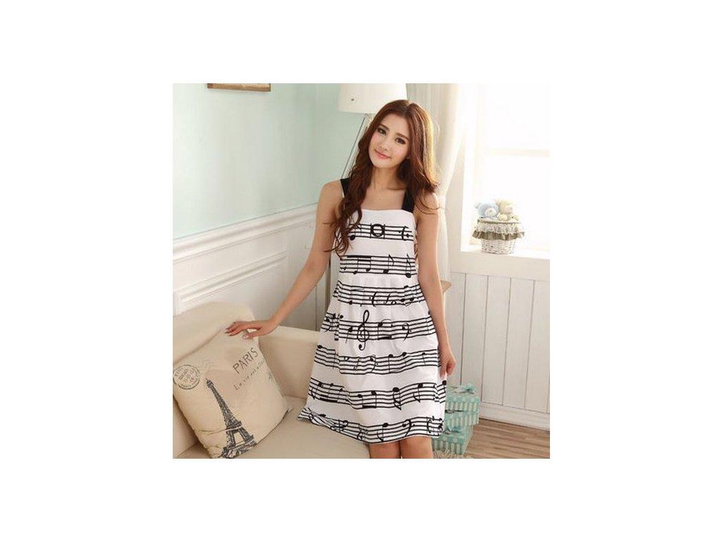 Bavlněná bílá sukně s černou partiturou - HUDEBNIKUM.CZ 49588b3be01