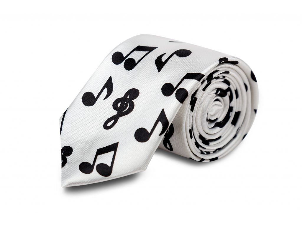 kravata bílá, černé noty