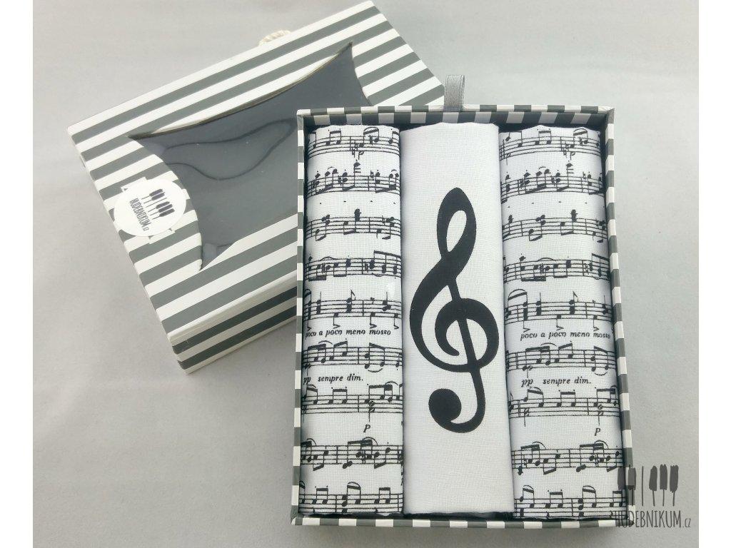 kapesníky dámské hudební, partitura, noty