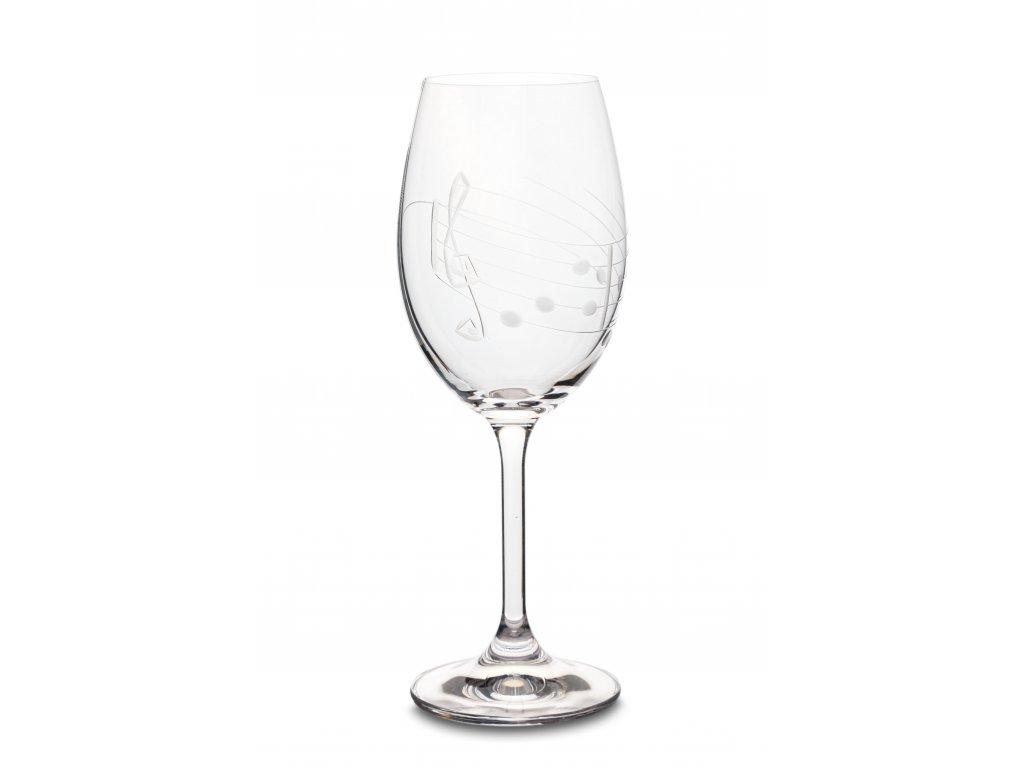Broušená sklenice s partiturou na bílé víno, 250 ml (1)