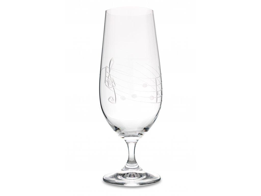 Broušená sklenice s partiturou na pivomíchané nápoje, 380 ml
