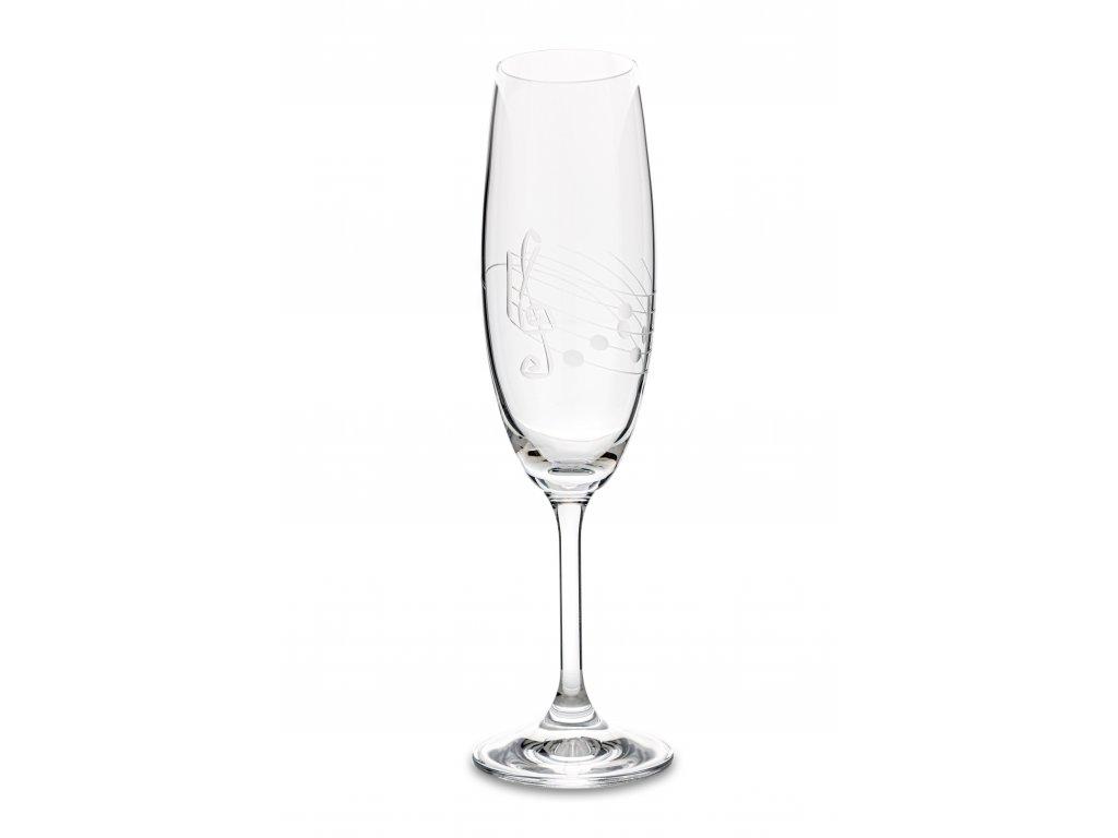 Broušená sklenice s partiturou na šampaňské, 220 ml