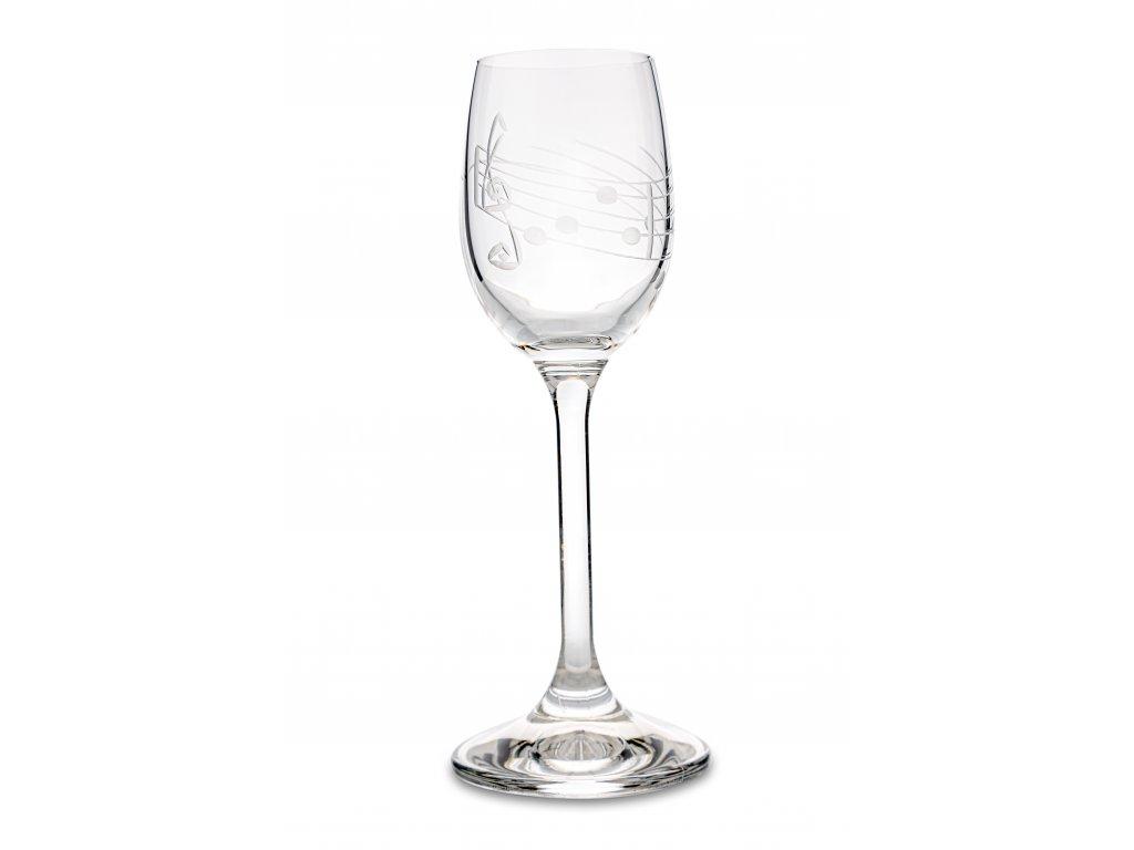 Broušená sklenička s partiturou na likér, 65 ml