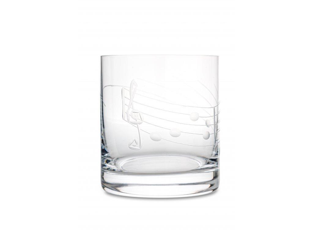 Broušená sklenička s partiturou na whiskey, 280 ml